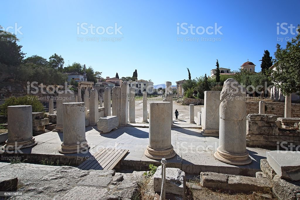 Ruins of Roman Agora, Athens, Greece stock photo