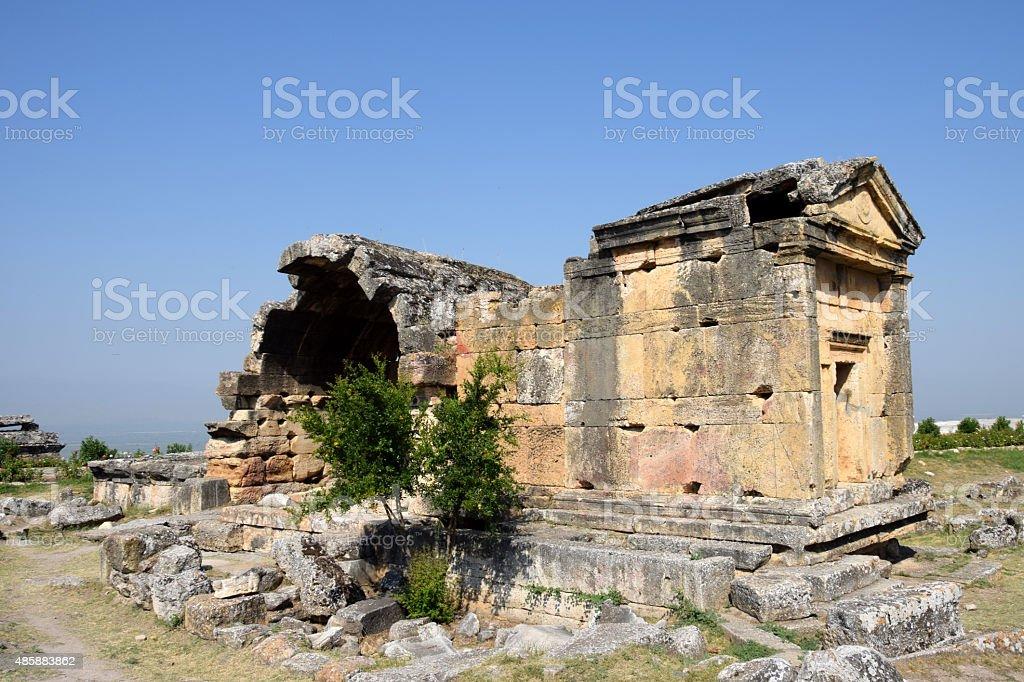 Ruins of roman ancient town Hierapolis, Turkey stock photo