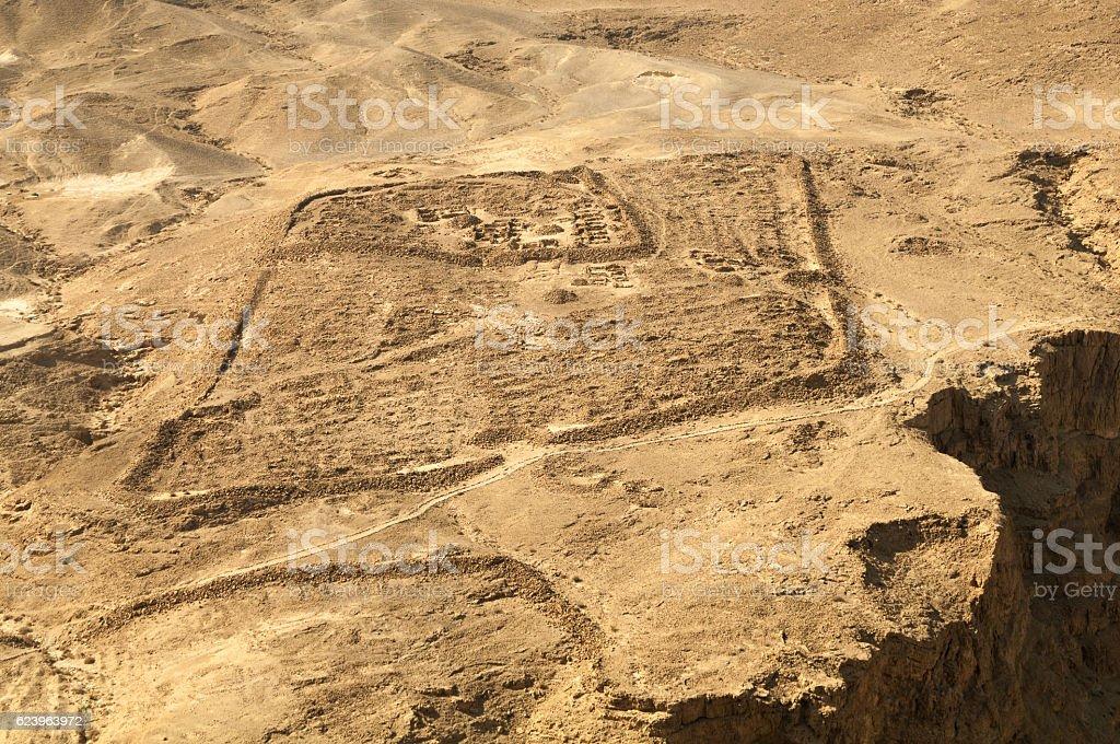 Ruins of Roman Camp at Masada stock photo