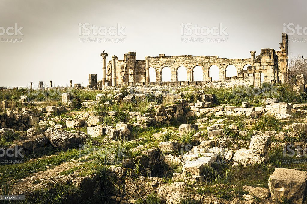 Ruins of Roman City , Volubilis, Morocco stock photo