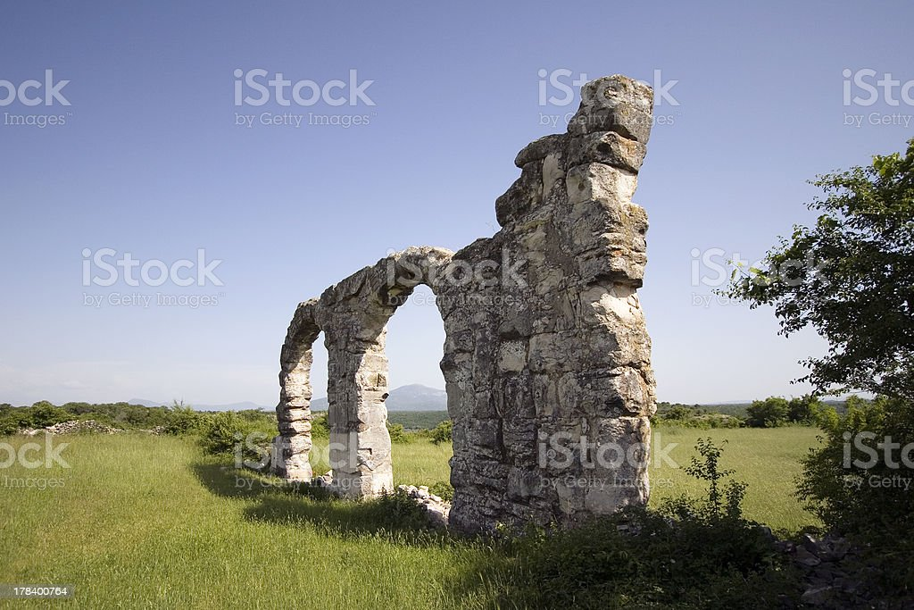 Ruins of Roman Legion camp in National park Krka, Croatia stock photo