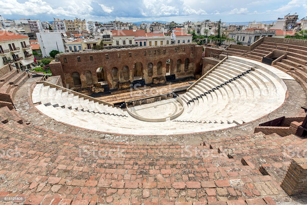 Ruins of Roman Odeon, Patras, Peloponnese, Greece stock photo