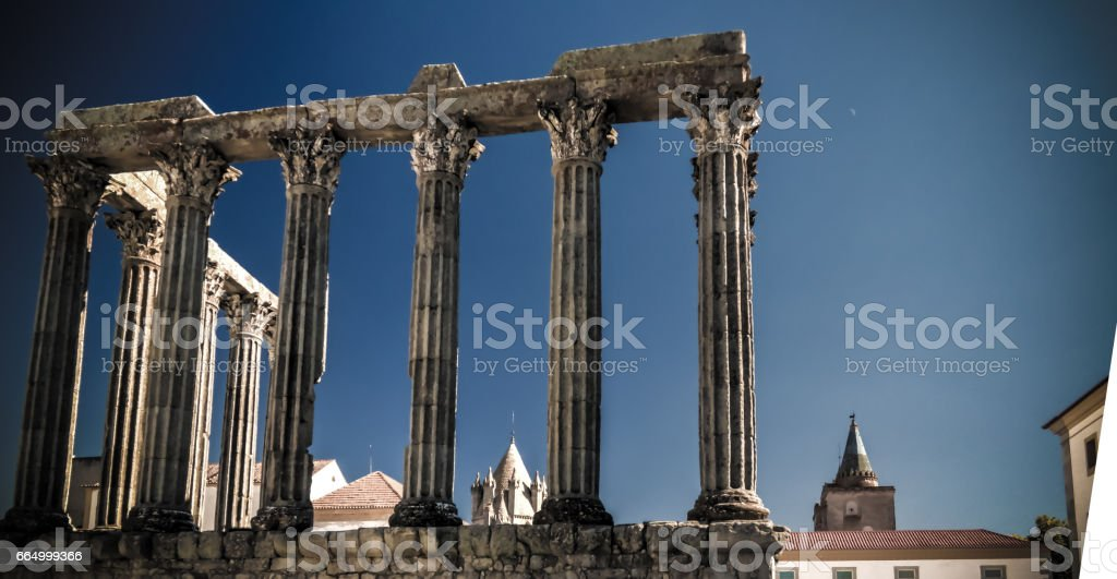 Ruins of Roman temple of Diana in Evora, Portugal stock photo