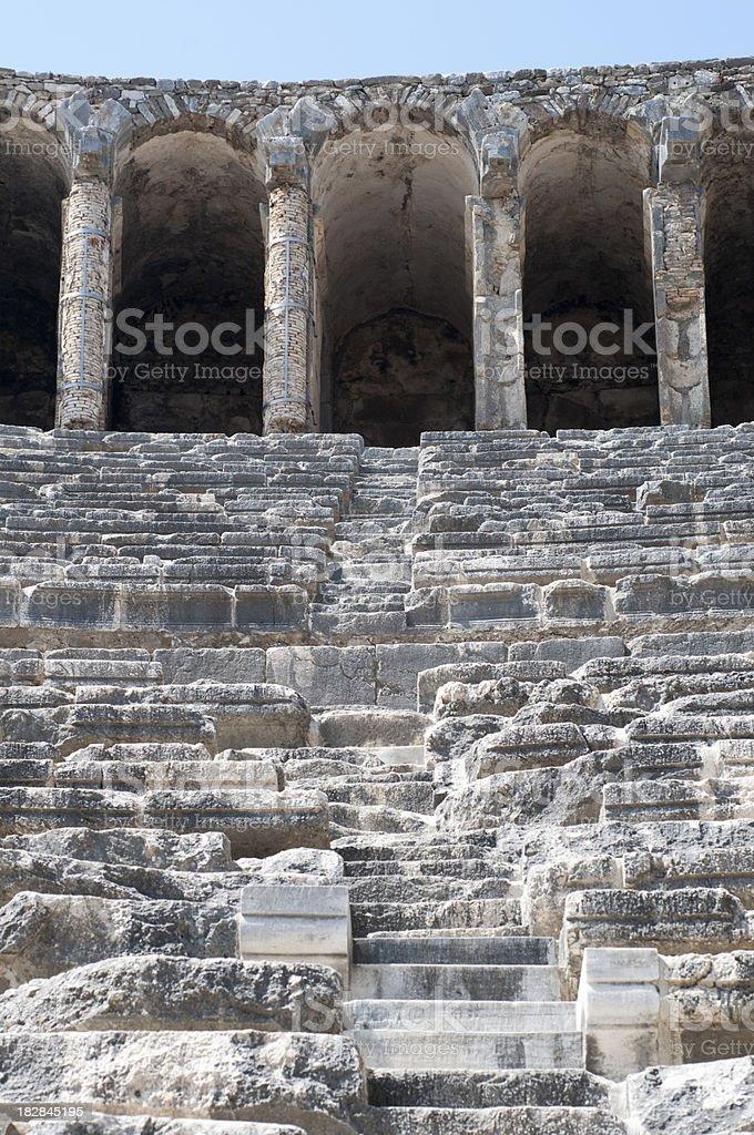 Ruins of Roman theatre in Aspendos, Antalya, Turkey royalty-free stock photo