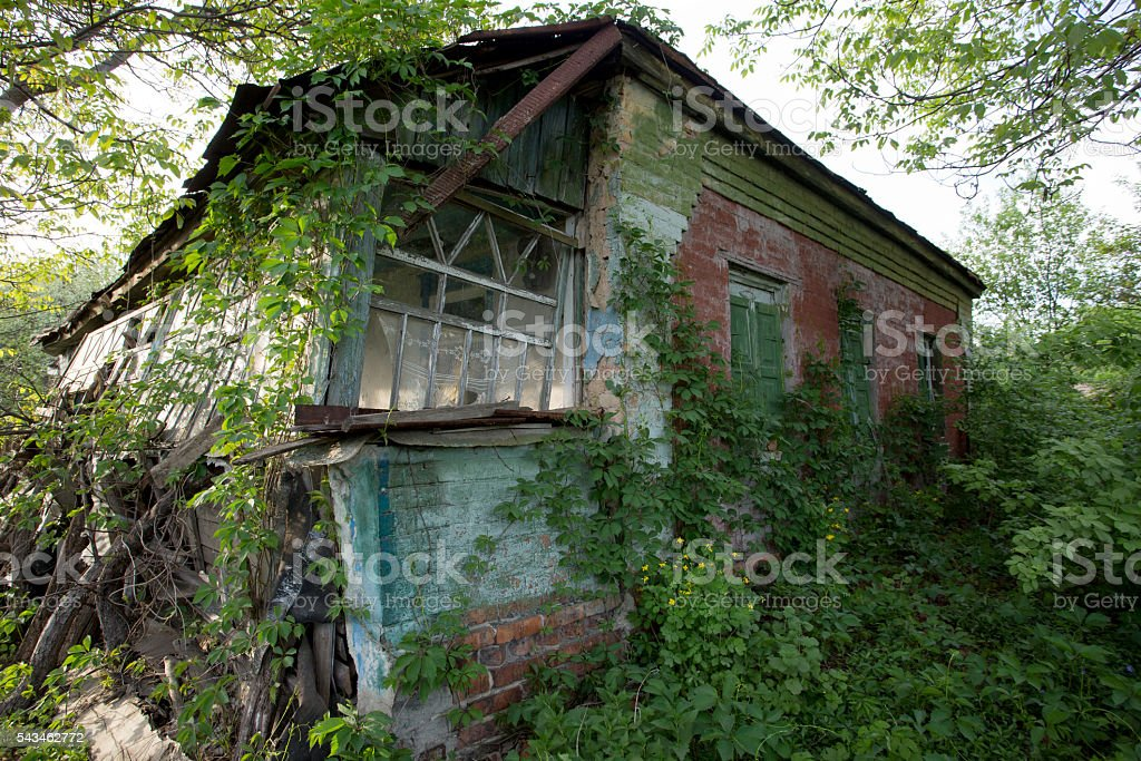 ruins of rural house stock photo