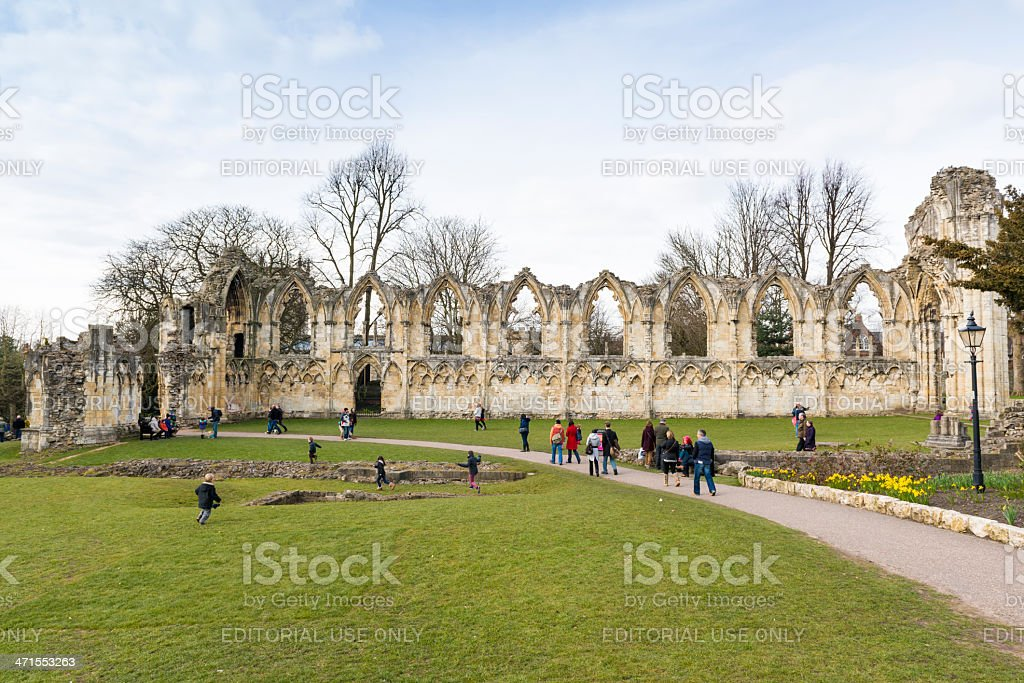 Ruins of Saint Mary's Abbey in York, UK stock photo