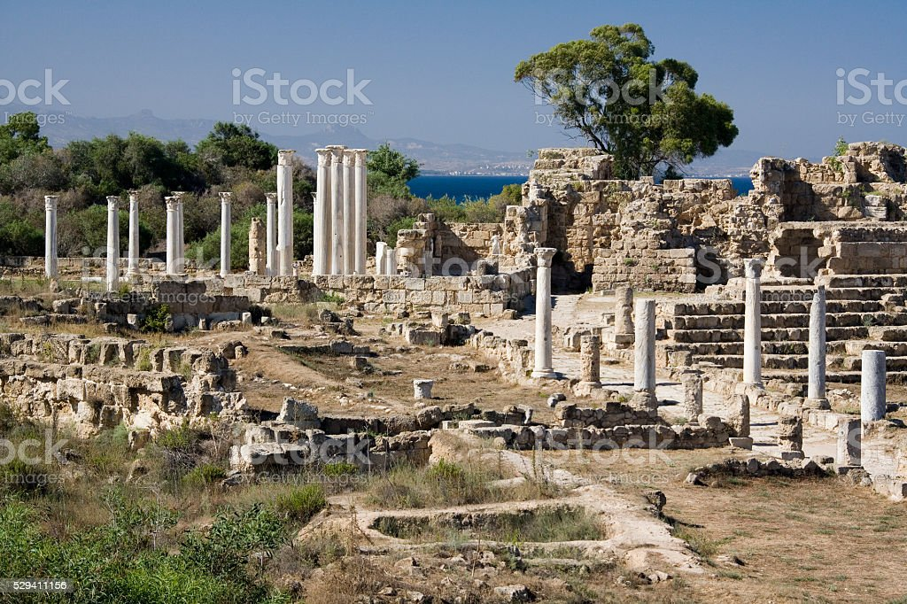 Ruins of Salamis in Northern (Turkish) Cyprus stock photo