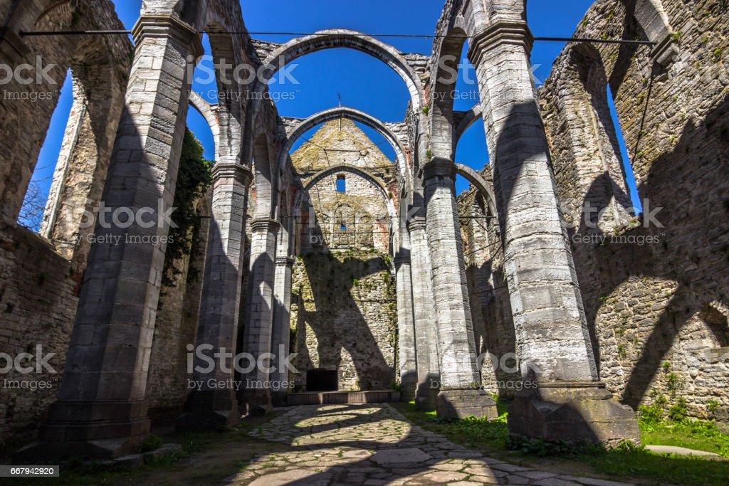 Visby, Gotland - May 15, 2015: Ruins of Sankta Karin church in Gotland, Sweden stock photo