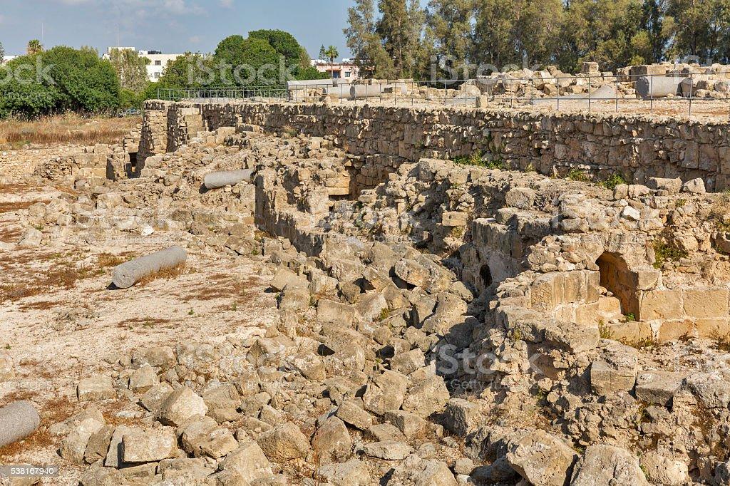 Ruins of Saranta Colones Castle in Paphos, Cyprus. stock photo