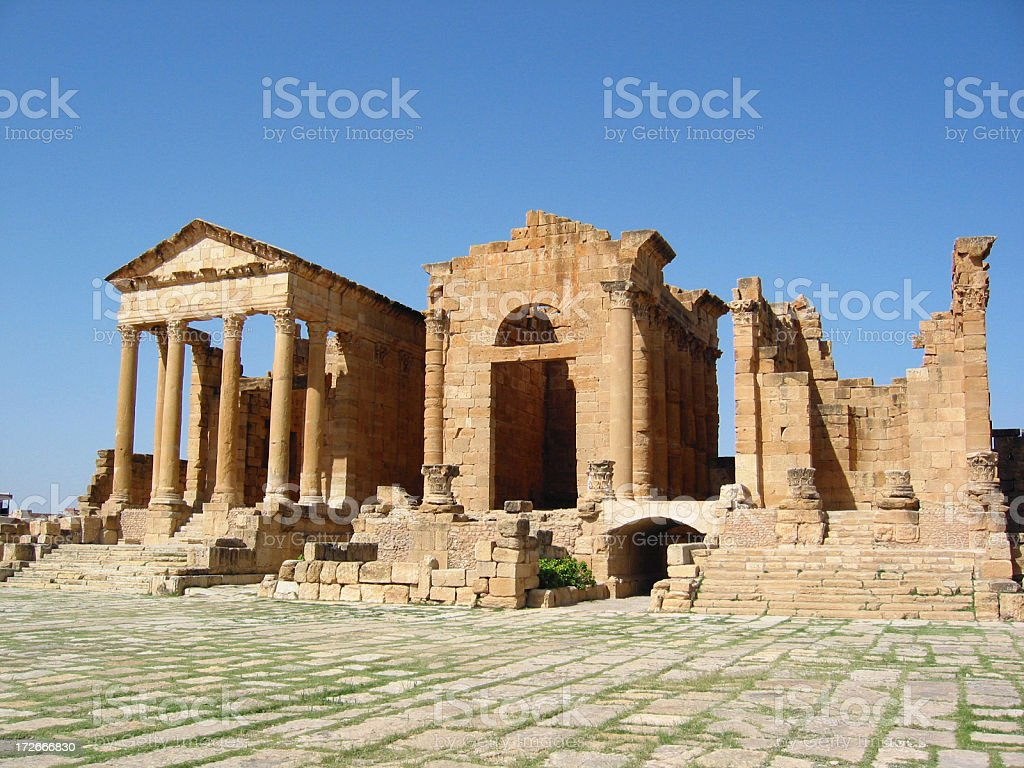 Ruins of Sbeitla - forum and temples of Minerva, Jupiter and Jun stock photo