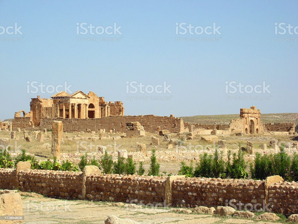 Ruins of Sbeitla - forum in the distance stock photo