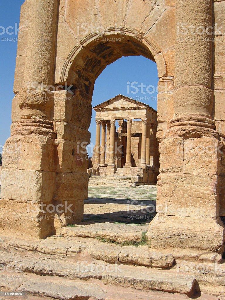 Ruins of Sbeitla - Triumph arch and temple of Minerva stock photo