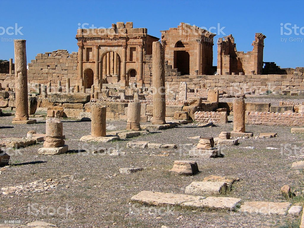 Ruins of shops in Sufetula royalty-free stock photo