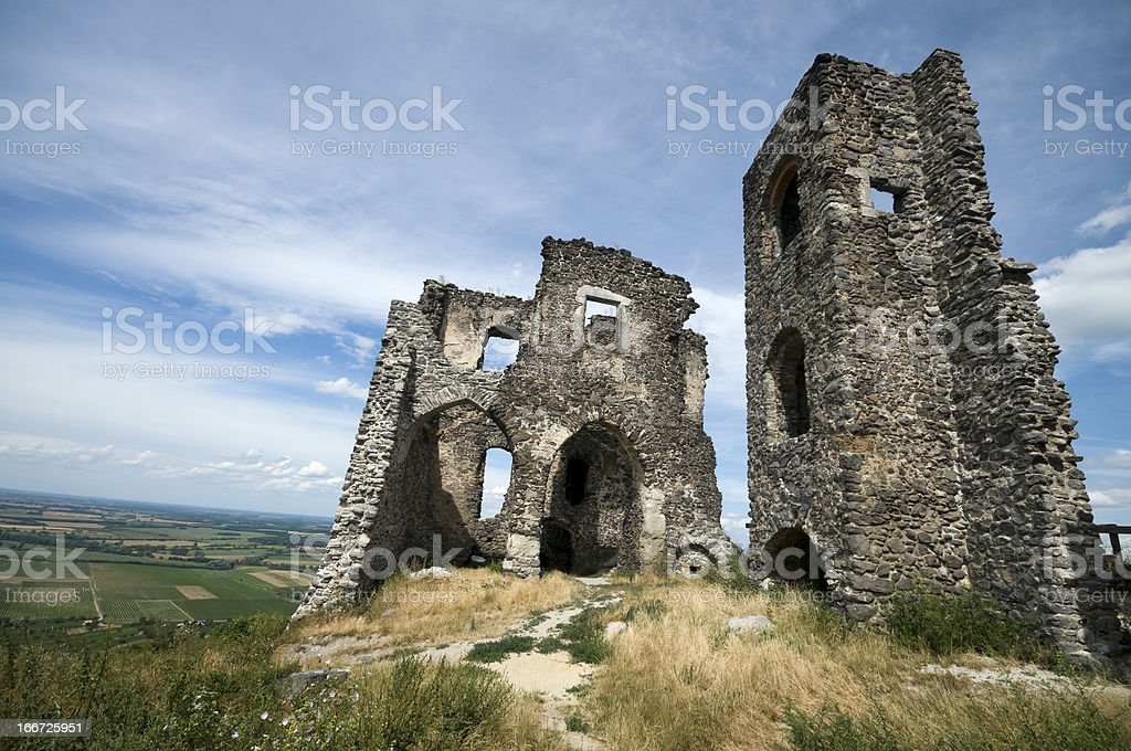 Ruins of Somlo castle stock photo