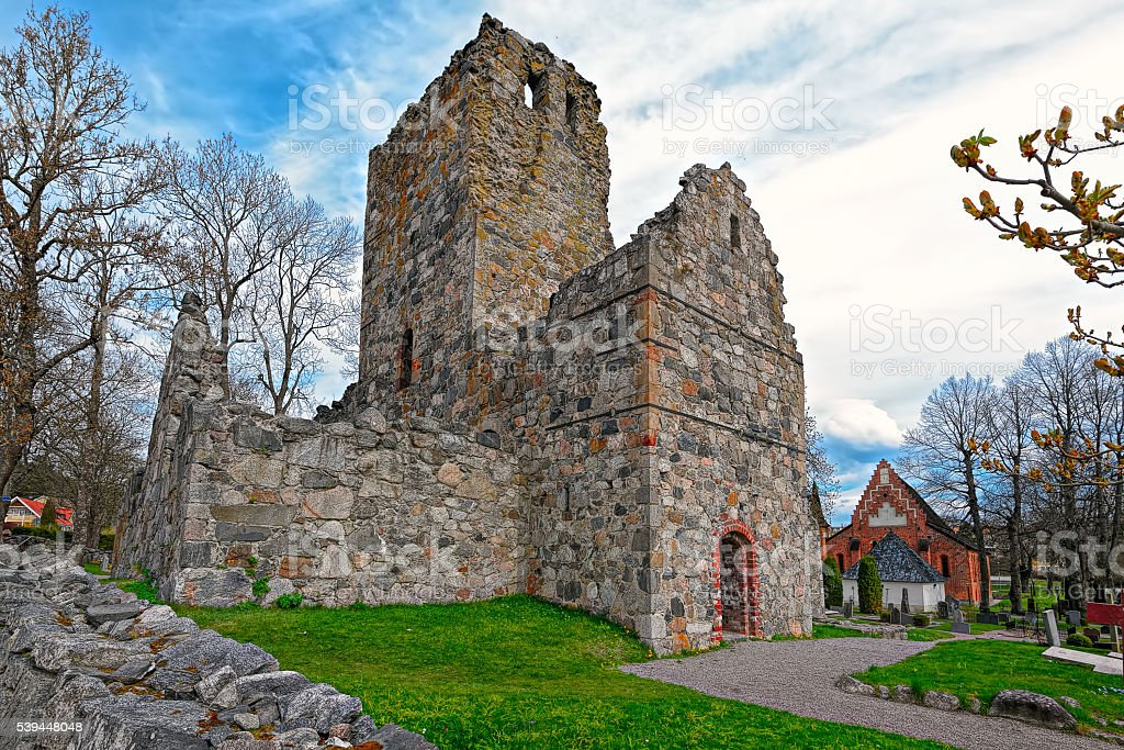 Ruins of St. Olof's Church in Sigtuna stock photo