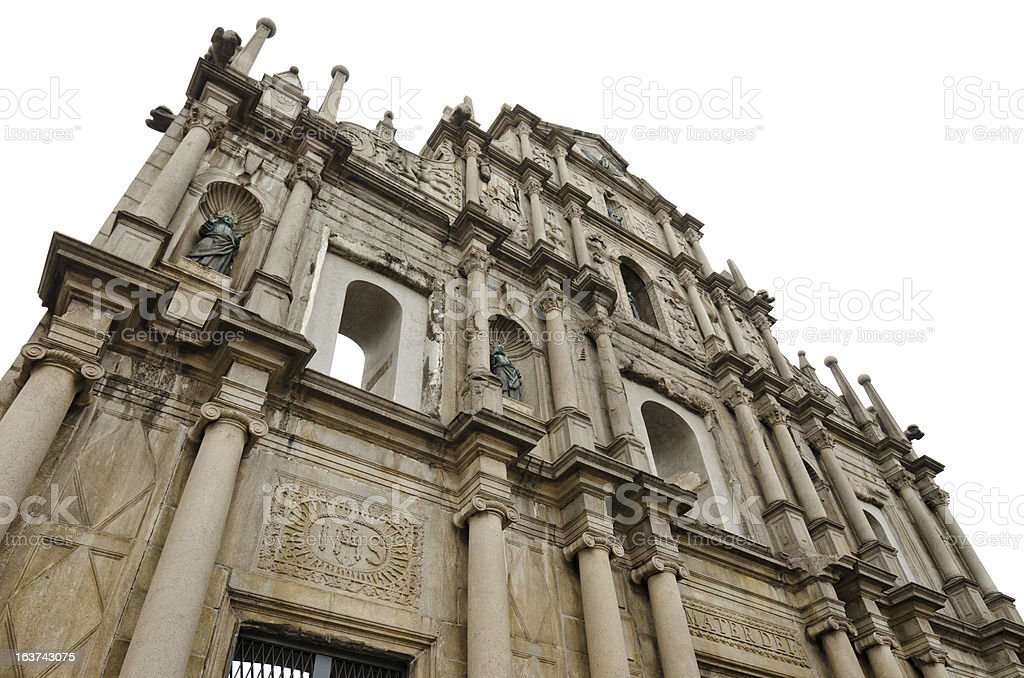 Ruins of St. Paul's in Macau with White Sky stock photo