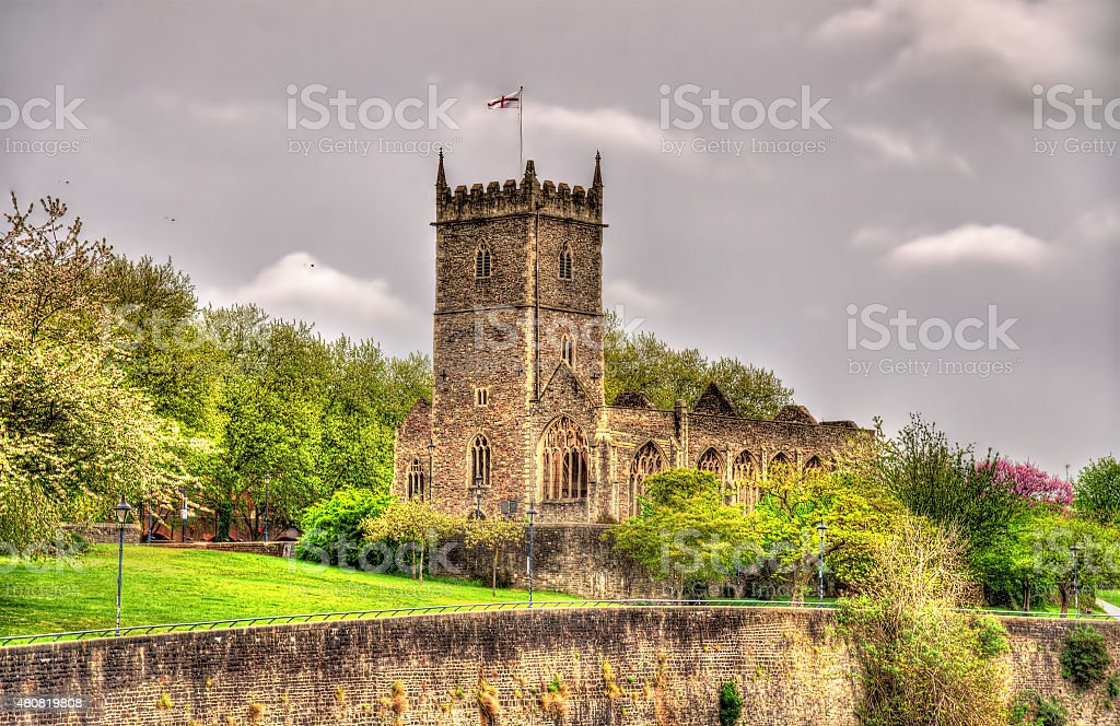 Ruins of St Peter's Church in Bristol - England stock photo