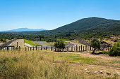 Ruins of stadium in Ancient city of Messina, Peloponnese, Greece