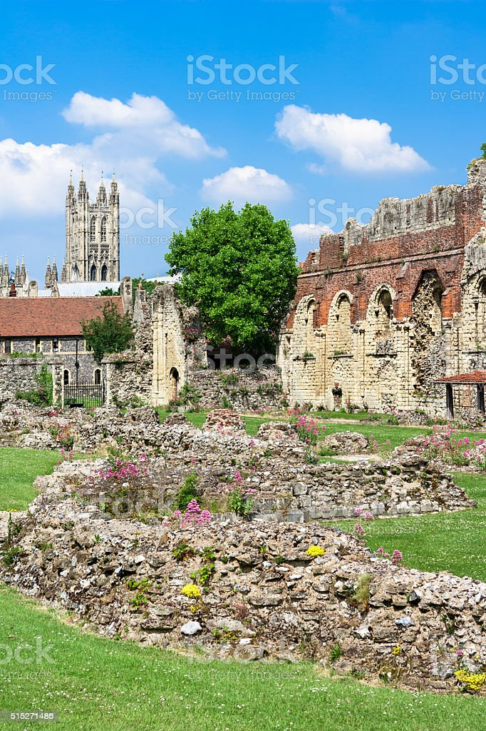 Ruins of  St.Augustines Abbey with Canterbury Cathedral in the background royalty-free stock photo