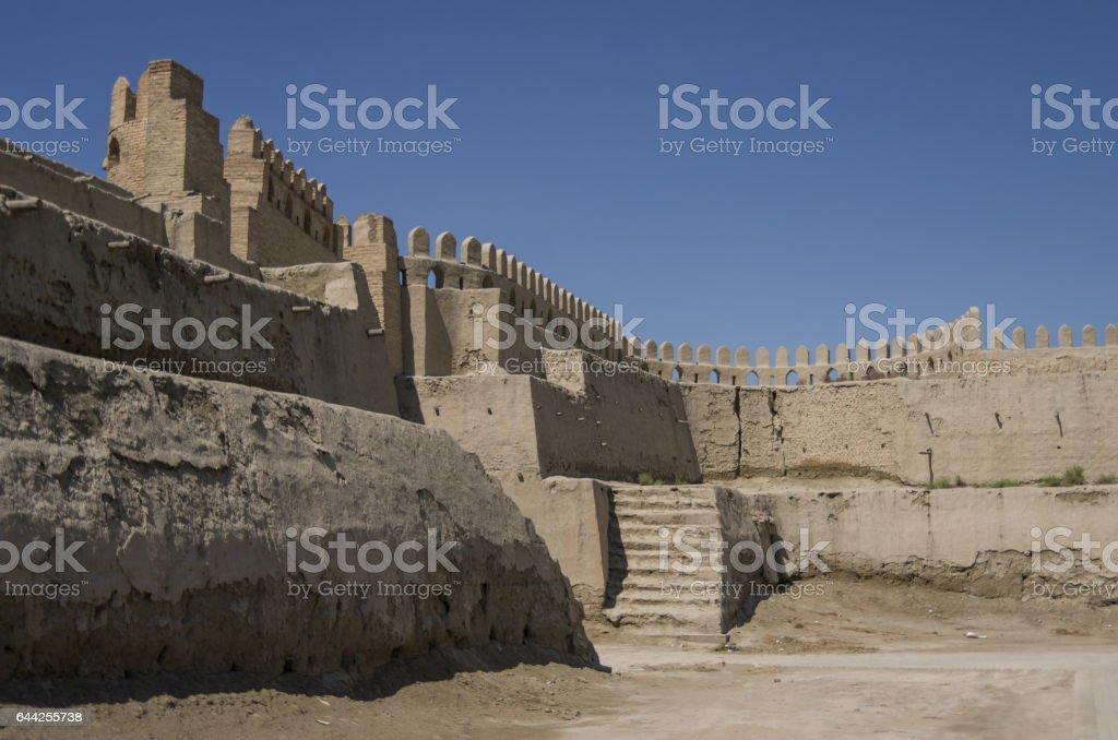 Ruins of Talipach gates and fortress walls, Bukhara, Uzbekistan. stock photo