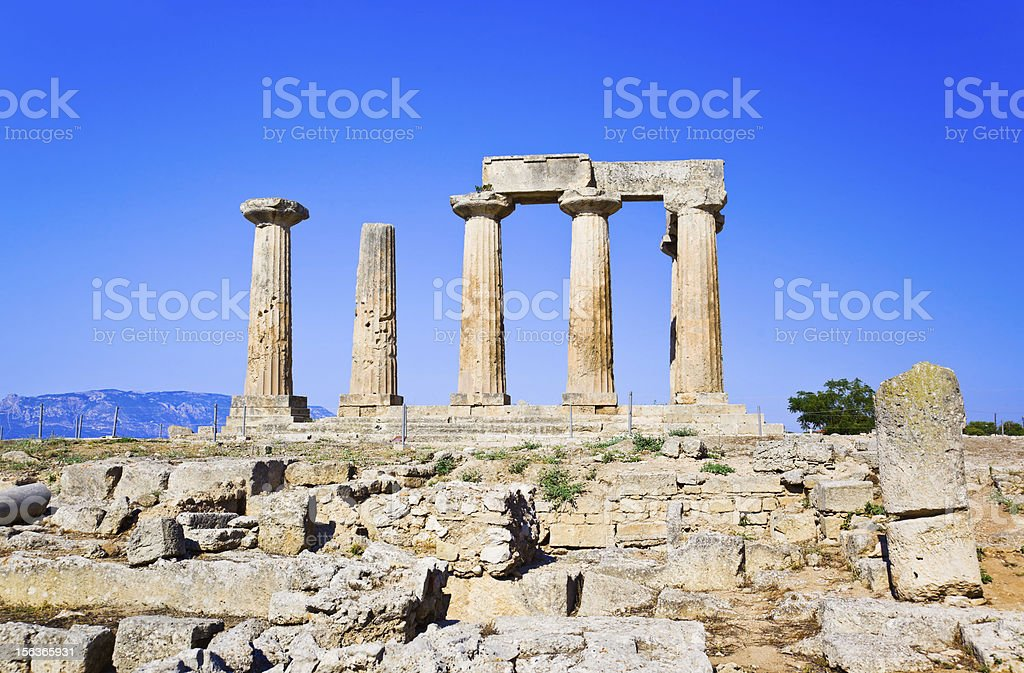 Ruins of temple in Corinth, Greece stock photo