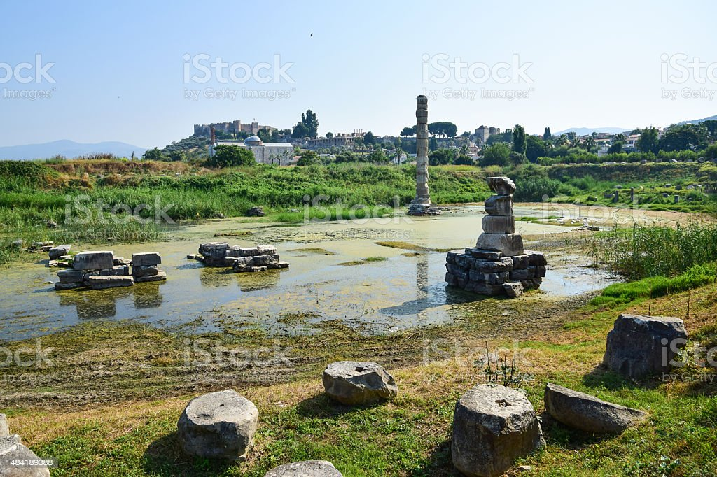 Ruins of Temple of Artemis stock photo