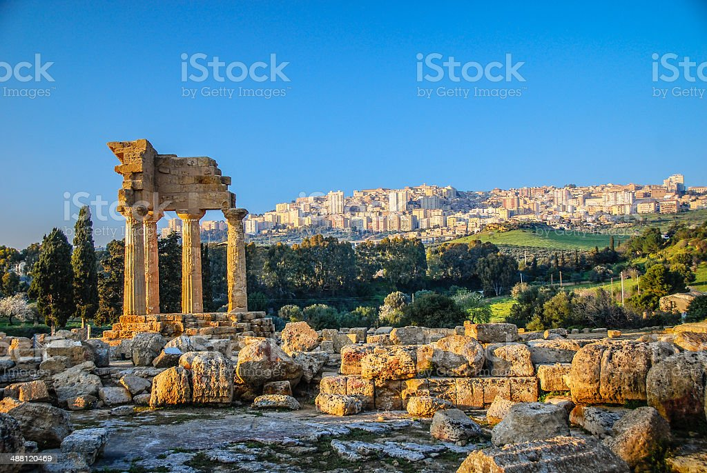 Ruins of Temple of Castor and Pollux in Sicily stock photo