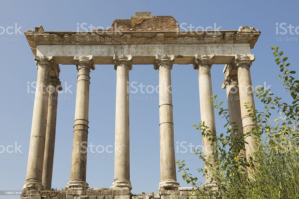 Ruins of Temple of Saturn in Roman Forum (Forum Romanum) stock photo