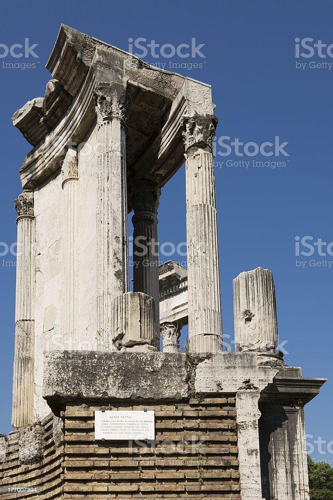 Ruins of temple of Vesta in Roman Forum (Forum Romanum) stock photo