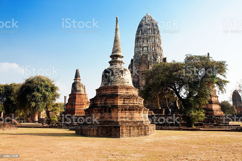 ruins of temple Ratchaburana in Ayutthaya, Thailand stock photo