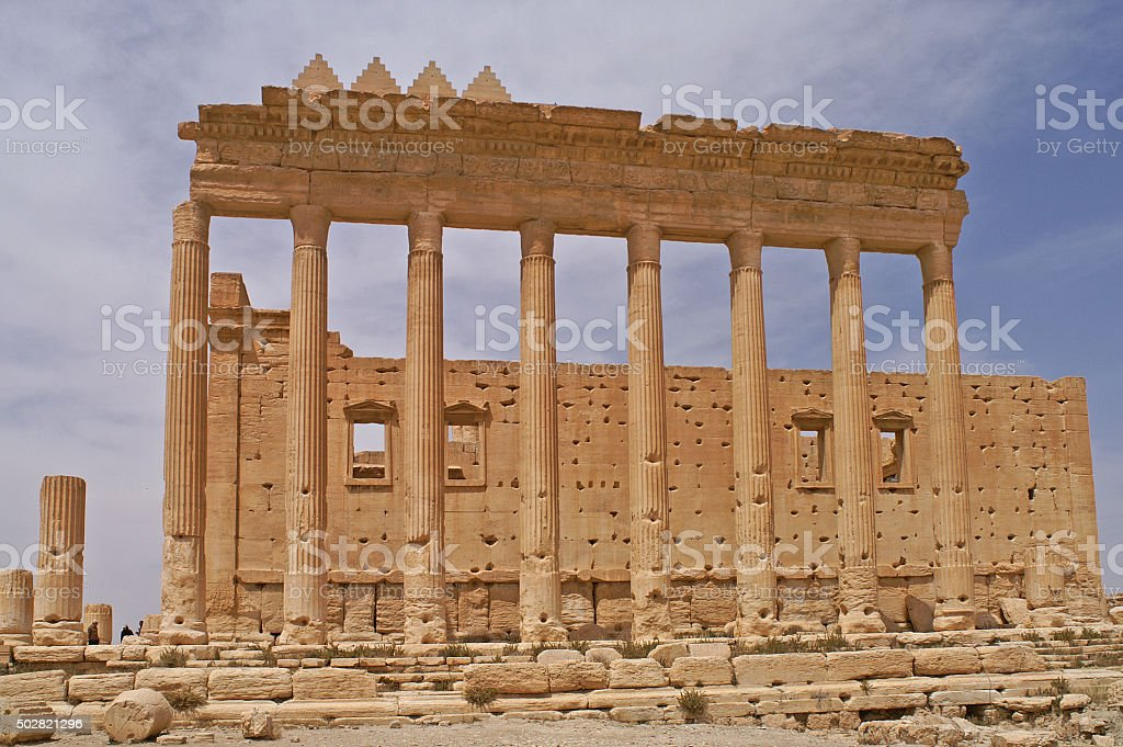 Ruins of th Temple of Ba'al in Palmyra, Syria stock photo