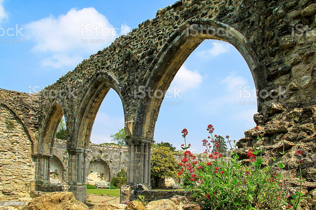 Ruins of the Abbey of Beaulieu, France stock photo