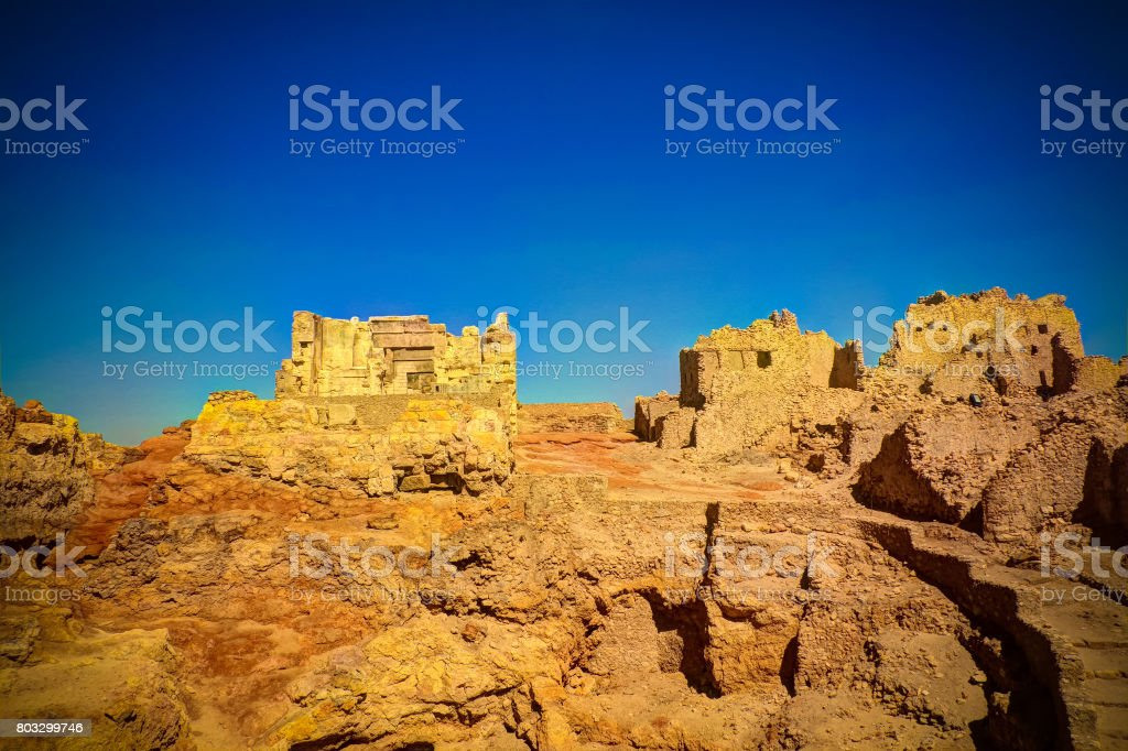 Ruins of the Amun Oracle temple,Siwa oasis, Egypt stock photo