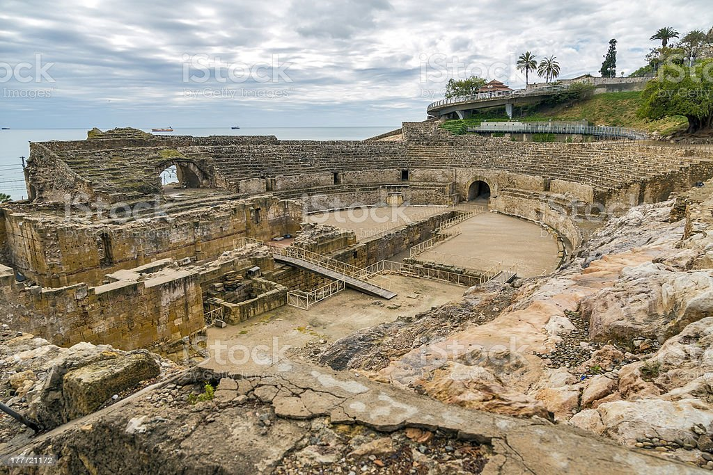 Ruins of the ancient amphitheater in Tarragona, Spain royalty-free stock photo