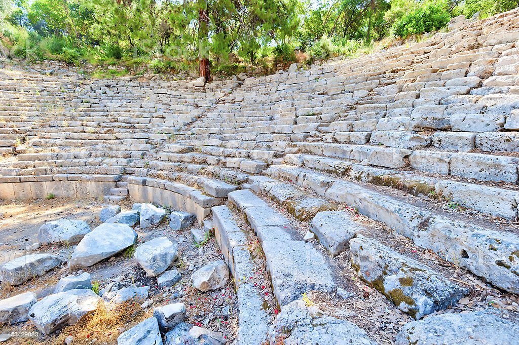 Ruins of the ancient amphitheater in Turkey stock photo