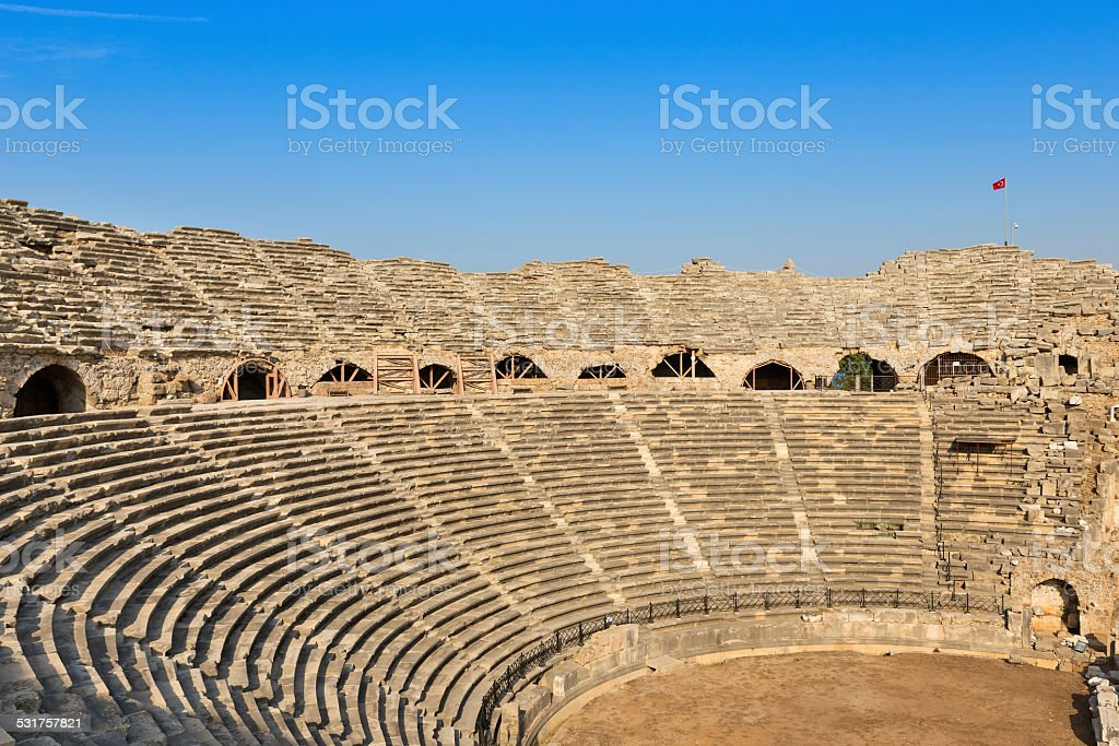 Ruins of the ancient amphitheater stock photo