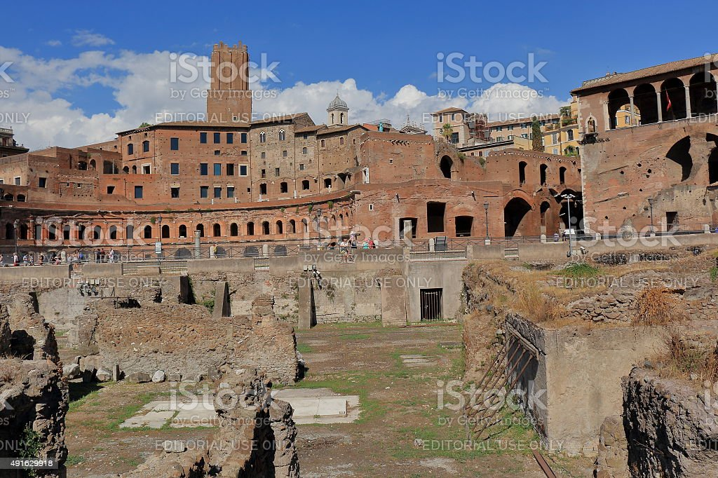 Ruins of the ancient buildings of Trajan Forum in Rome stock photo