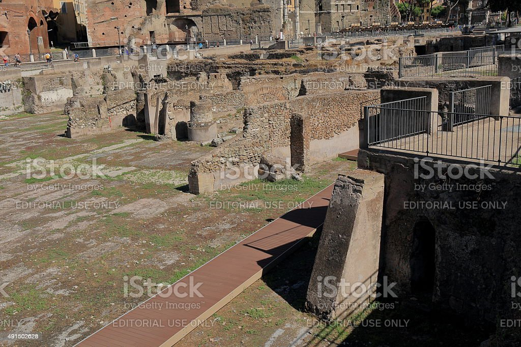Ruins of the ancient buildings of Trajan Forum stock photo