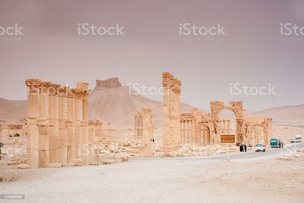 Ruins of the ancient city of Palmyra, Syrian Desert stock photo