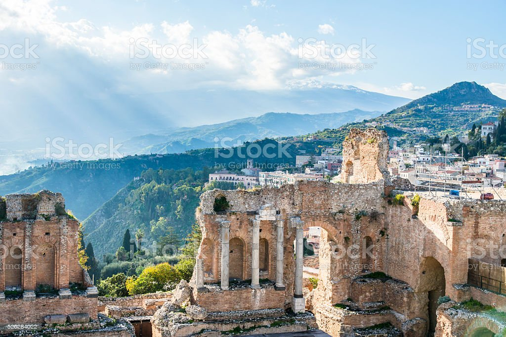 Ruins of the ancient greek theater of Taormina. Sicily. Italy. stock photo