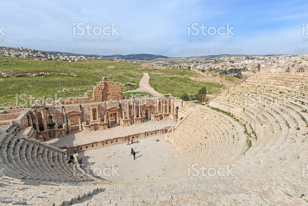 Ruins of the ancient Jerash, in modern Jordan stock photo