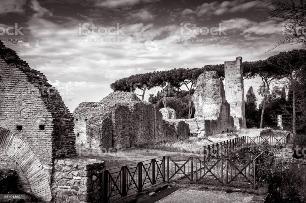 Ruins of the ancient palace on the Palatine Hill, Rome stock photo