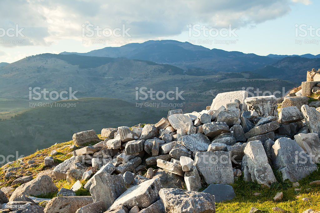 Ruins of the ancient temple of Trajan in Bergama Acropolis stock photo