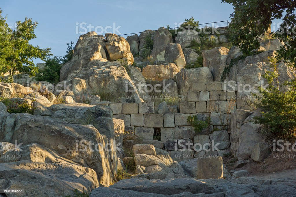 Ruins of The ancient Thracian city of Perperikon, Bulgaria stock photo