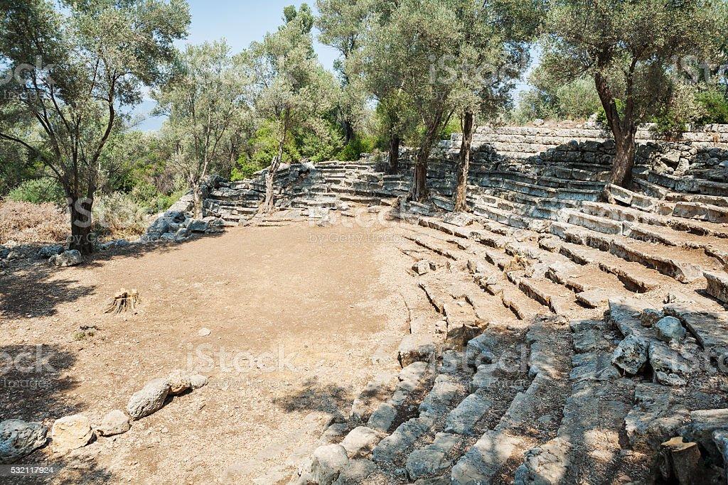 Ruins of the antique greek theatre, Kedrai, Sedir island, Turkey stock photo
