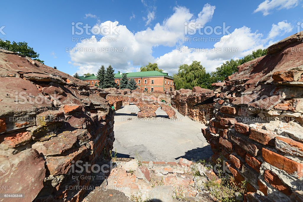 Ruins of the barracks basements. Brest Fortress stock photo