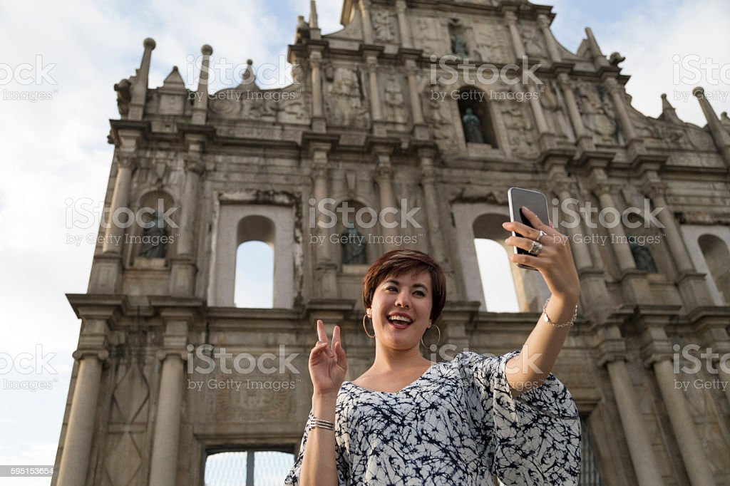 Ruins of the Church of St Paul Selfie stock photo