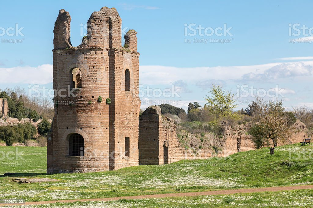 Ruins of the Circus of Maxentius in Rome stock photo