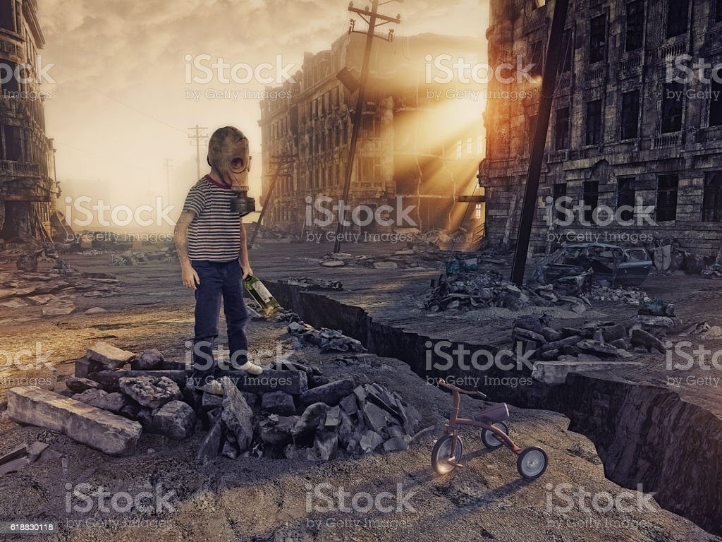 ruins of the city and the boy stock photo