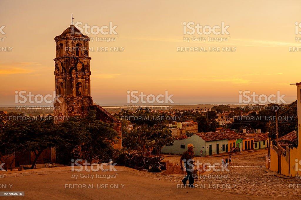 Ruins of the colonial catholic church of Santa Ana in stock photo